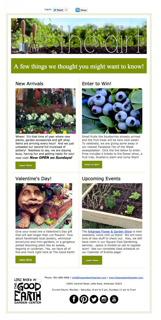 Good Earth email newsletter example